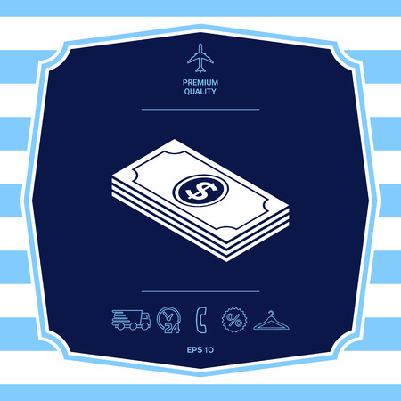 Money banknotes stack with dollar isometric icon
