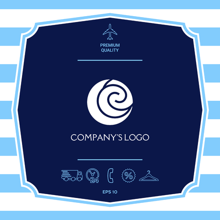 Logo - two spirals are located asymmetrically in a circle - a symbol of interaction, new ideas, development.