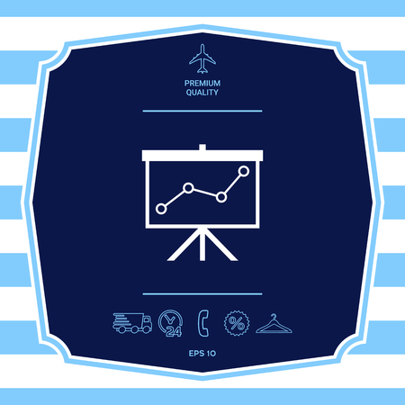 Flip-chart, projection screen with a graph. Graphic elements for your design Illustration