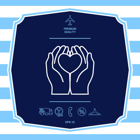Hands holding heart - protection icon. Graphic elements for your design