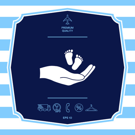 Hands holding baby foot. Graphic elements for your design