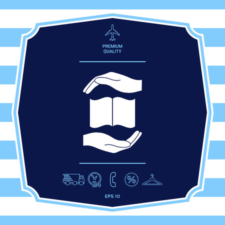 Hands holding book- protection symbol. Graphic elements for your design