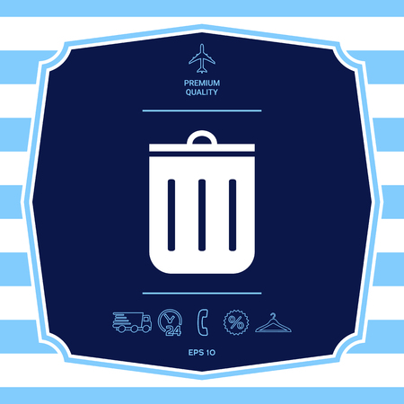Trash can icon. Graphic elements for your design Illustration
