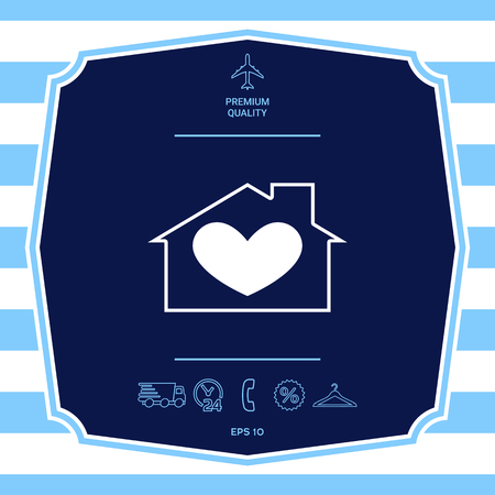 House with heart symbol. Graphic elements for your design