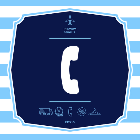 Telephone handset, telephone receiver symbol icon Illustration