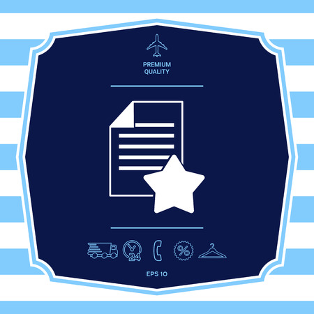 Warranty sheet of paper with a star. Graphic elements for your design