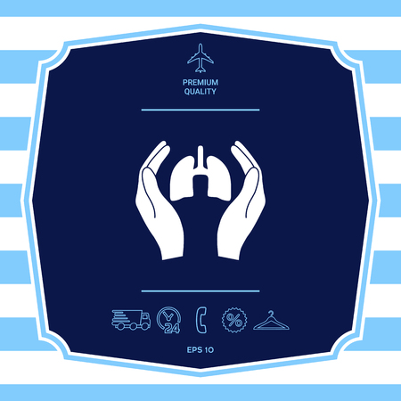Hands holding lungs - protection icon. Graphic elements for your design
