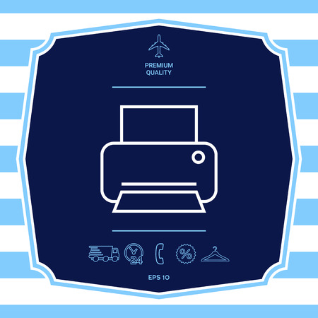 Print line icon. Graphic elements for your design Illustration