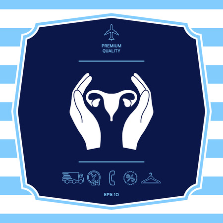 Hands holding Female uterus - protection icon. Graphic elements for your design Illustration