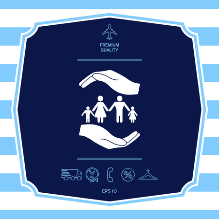 Hands holding a symbol of family. Family protect icon. Graphic elements for your design