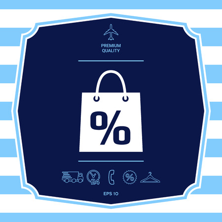 Shopping bag with the sale, percent, discount symbol. Graphic elements for your design Illustration