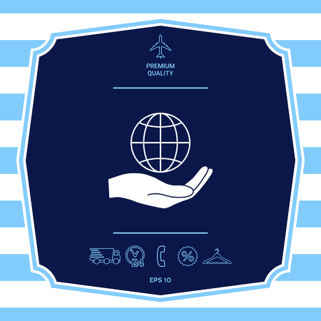 Hand holding Earth. Protect icon. Graphic elements for your design