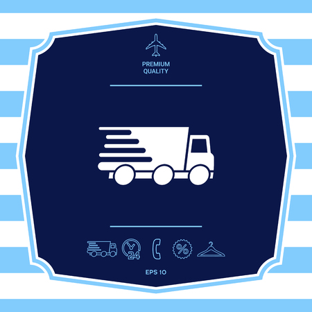 Express delivery icon. Delivery car. Graphic elements for your design Illustration