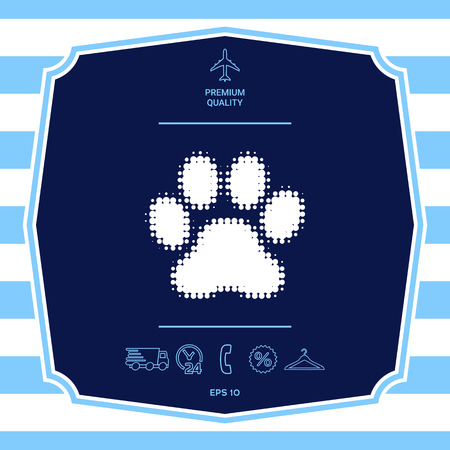 Paw - halftone logo. Graphic elements for your design