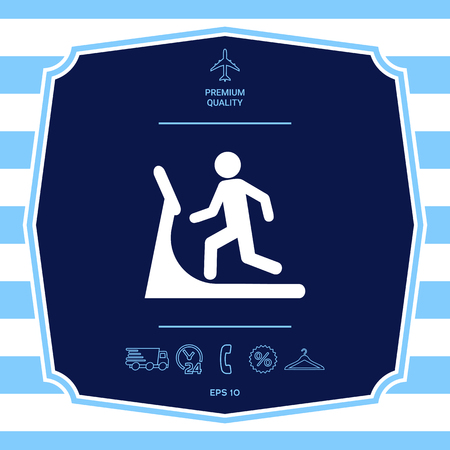 Man on treadmill icon. Graphic elements for your design