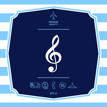 Treble clef icon. Graphic elements for your design Иллюстрация