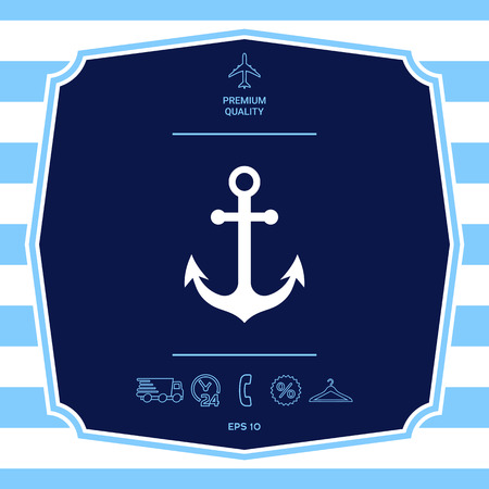 Anchor icon symbol. Element for your design Vettoriali