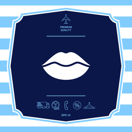 Lips symbol icon. Graphic elements for your design