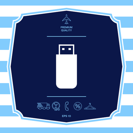 USB flash memory drive icon. Graphic elements for your design