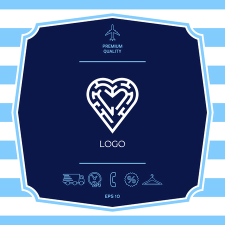 Logo - a labyrinth in the heart - a symbol of the search for love, solving problems in relationships, happiness.
