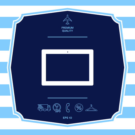 Computer tablet with blank screen, icon. Element for your design