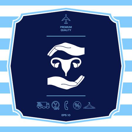 Hands holding Female uterus - protection symbol. Graphic elements for your design Illusztráció