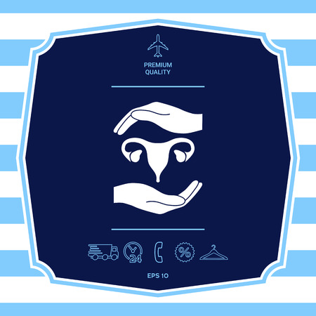 Hands holding Female uterus - protection symbol. Graphic elements for your design Illustration