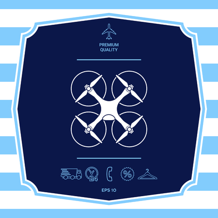 Quadcopter, flying drone icon. Graphic elements for your design