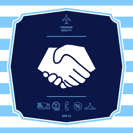 Symbol of handshake in circle. Graphic elements for your design