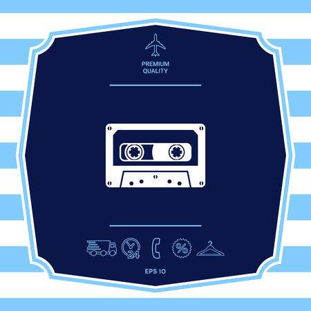 Audio Cassette icon. Graphic elements for your design