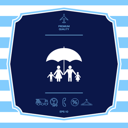 Family under umbrella - Family protect icon. Graphic elements for your design