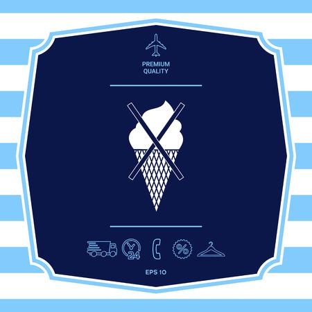 No ice cream symbol icon Ilustração
