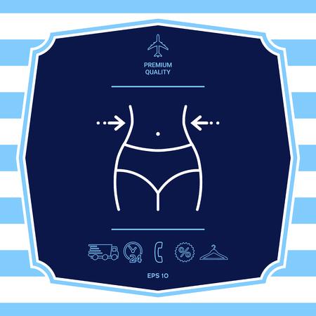 Vita da donna, perdita di peso, dieta, giro vita - icona linea