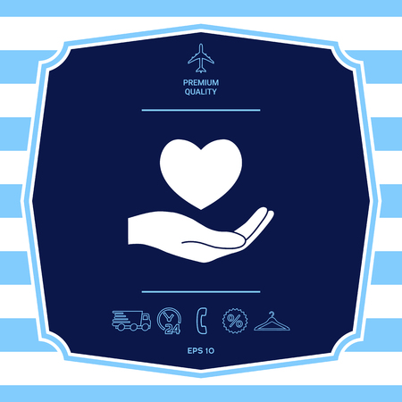 Hand holding heart symbol. Graphic elements for your design