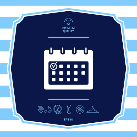 Calendar with Check mark-  icon. Graphic elements for your design Illustration