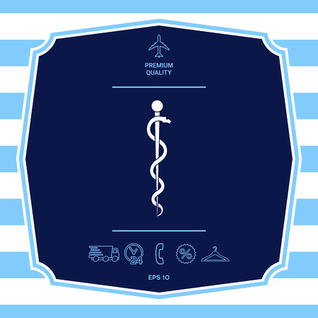 Rod of Asclepius Snake Coiled Up Silhouette. Graphic elements for your design Illustration