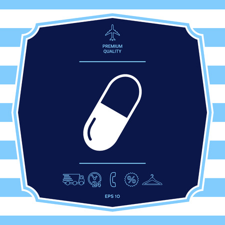Pill icon symbol. Graphic elements for your design Illustration