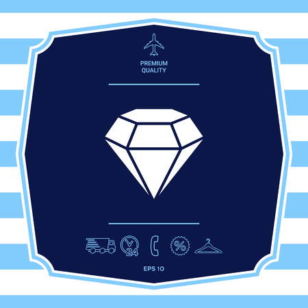 Diamond sign. Jewelry symbol. Gem stone. Flat simple design