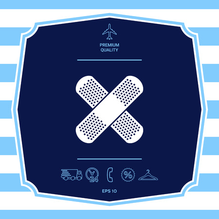 Cross adhesive bandage, medical  plaster icon. Graphic elements for your design