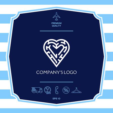 Logotipo, un laberinto en el corazón, símbolo de la búsqueda de integridad, sabiduría y felicidad. Logos
