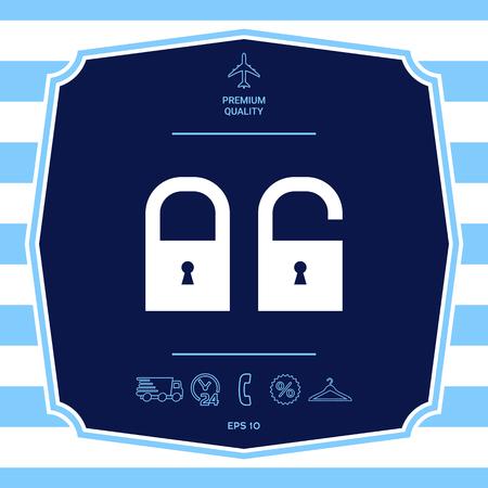 Lock, unlock - set  icon. Graphic elements for your design Ilustrace