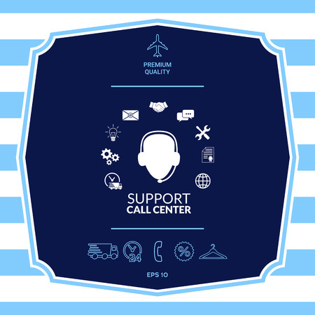 Technical support operator flat icon.