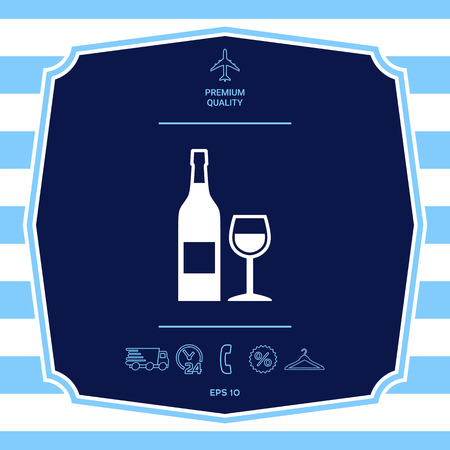 Bottle of wine and wineglass icon. Graphic elements for your design