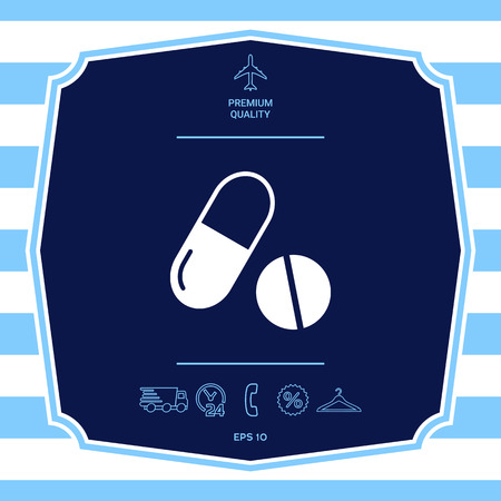 Medicines pills - Capsule and pill icon Stok Fotoğraf