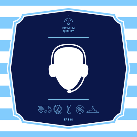 Operator in headset. Call center icon
