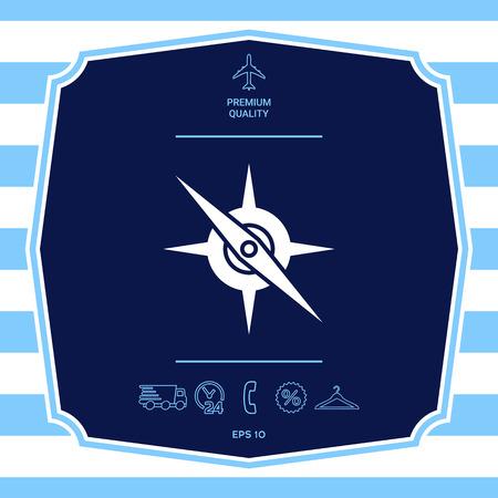 Icono de símbolo de brújula. Elemento para su diseño. Ilustración de vector