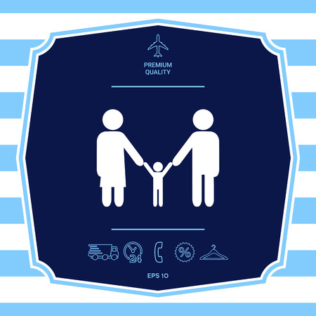 Adults with a child - family icon. Element for your design.