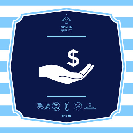 Money in hand, dollar symbol icon Illustration