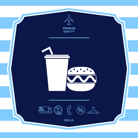 Hamburger or Cheeseburger, Paper cup with drinking straw icon