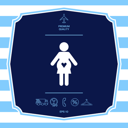 Pregnant woman icon with heart